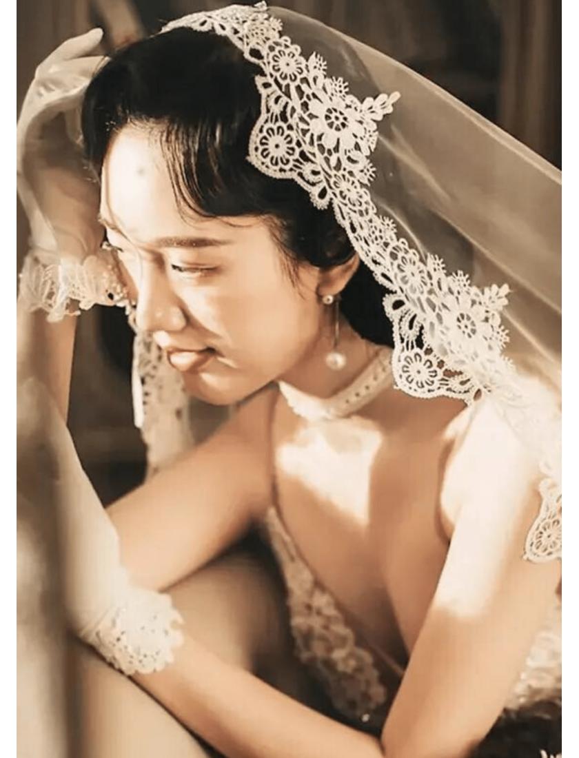 Jade Veil | Vintage Chantilly Lace Edge Cathedral Length 3 Meters Bridal Veil