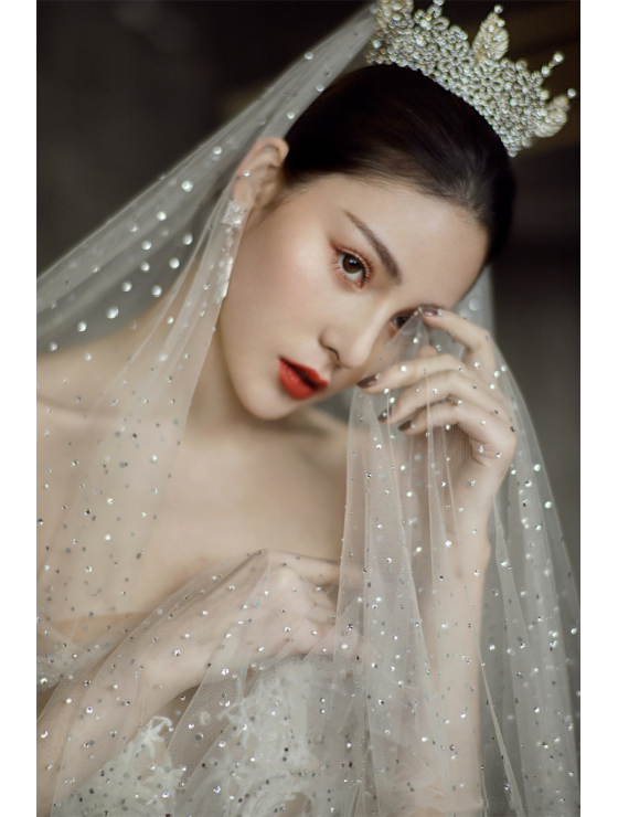J'taime Veil | Shimmering Starry Crystal Veil Cathedral Length 3 Meters Bridal Veil