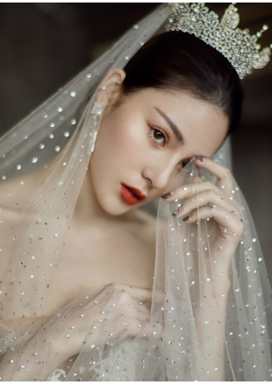 J'taime Veil | Shimmering Starry Crystal Veil Cathedral Length 3 Meters Bridal Veil