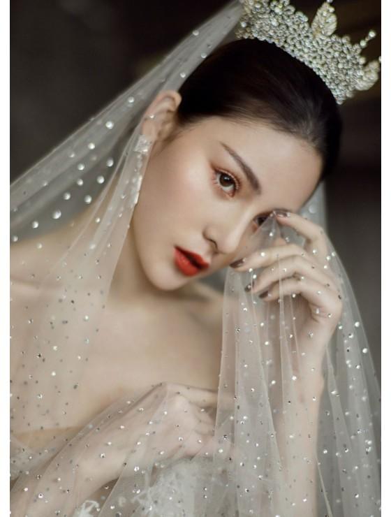 J'taime Veil   Shimmering Starry Crystal Veil Cathedral Length 3 Meters Bridal Veil