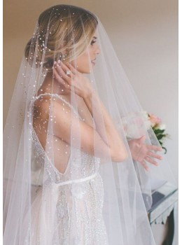 Georgina Veil | Crystal Rhinestone Drop Veil with Blusher Cathedral Length 3 Meters Bridal Veil