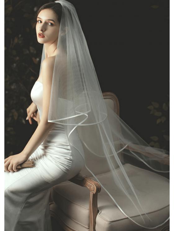 Charlotte Veil | Ribbon Edge Drop Veil Waltz Length 2 Meters Ivory Wedding Veil