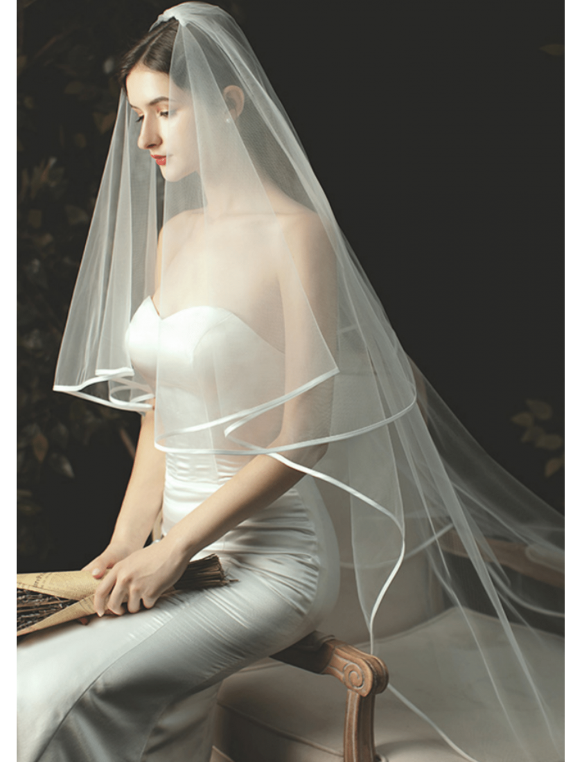 Charlotte Veil | Ribbon Edge Drop Veil Waltz Length 2 Meters Ivory Wedding Veil