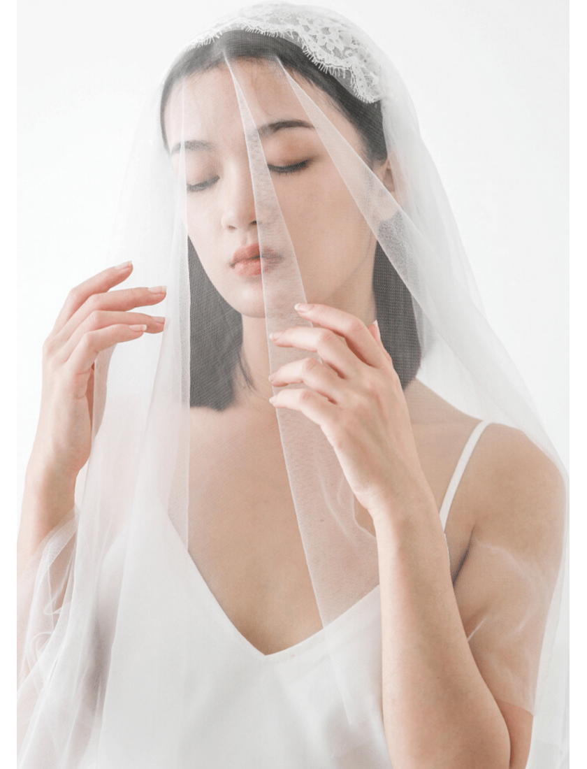Grace Veil | Boho Beaded Pearl Juliet Cap Veil with Blusher Cathedral Length 3 Meters Bridal Veil