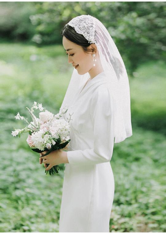 Kylie Veil | Classic Boho Lace Juliet Cap Veil 0.6 Meters Ivory Wedding Veil