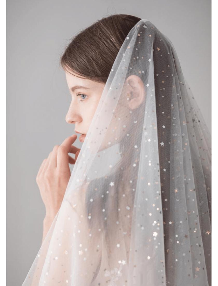 Vienna Veil | Twinkle Stars & Moon Celestial Veil Fingertip 1.5 Meters Wedding Veil