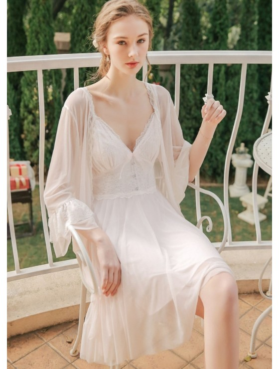 Lola French Tulle Robe with Lace Trim
