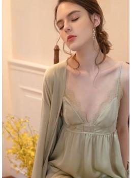 Tria Luxe Silk Bridal Robe (Sage Green)