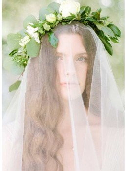 Isla Veil | Simple Classic French Tulle Chapel Length 2.7 Meters Ivory Drape Veil