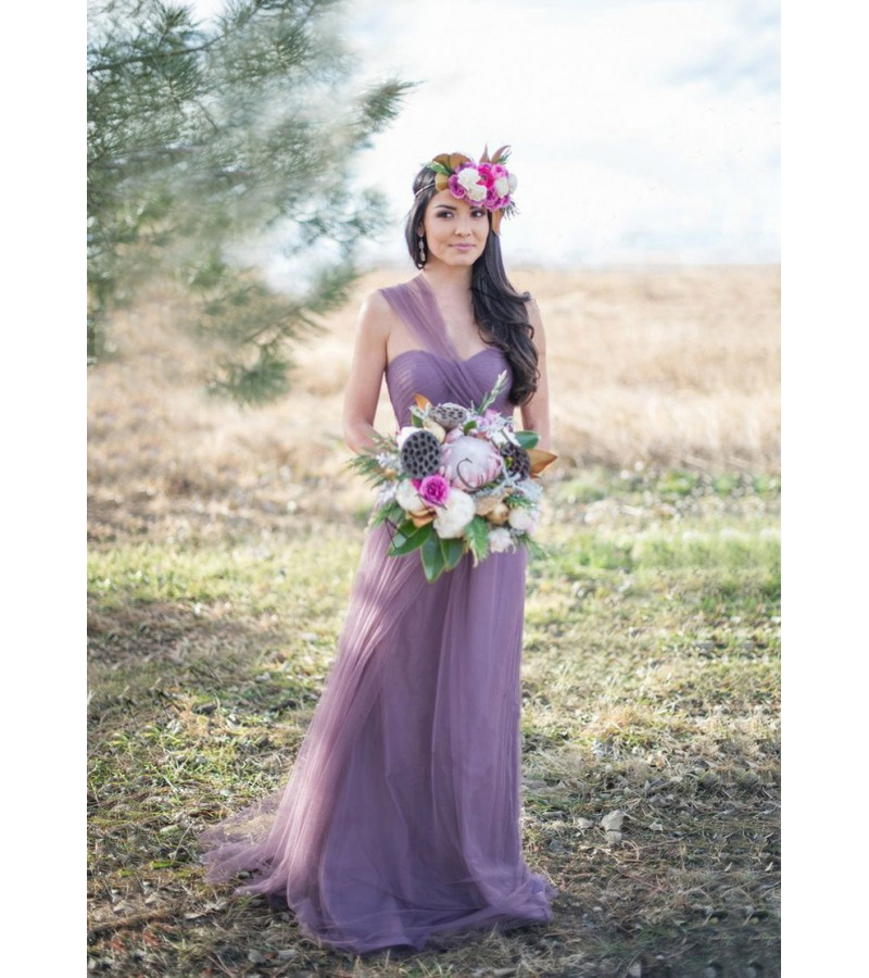7bd8a9f17db Gorgeous Lavender Purple Boho Multiway Convertible Tulle Bridesmaid Dress  EG05023