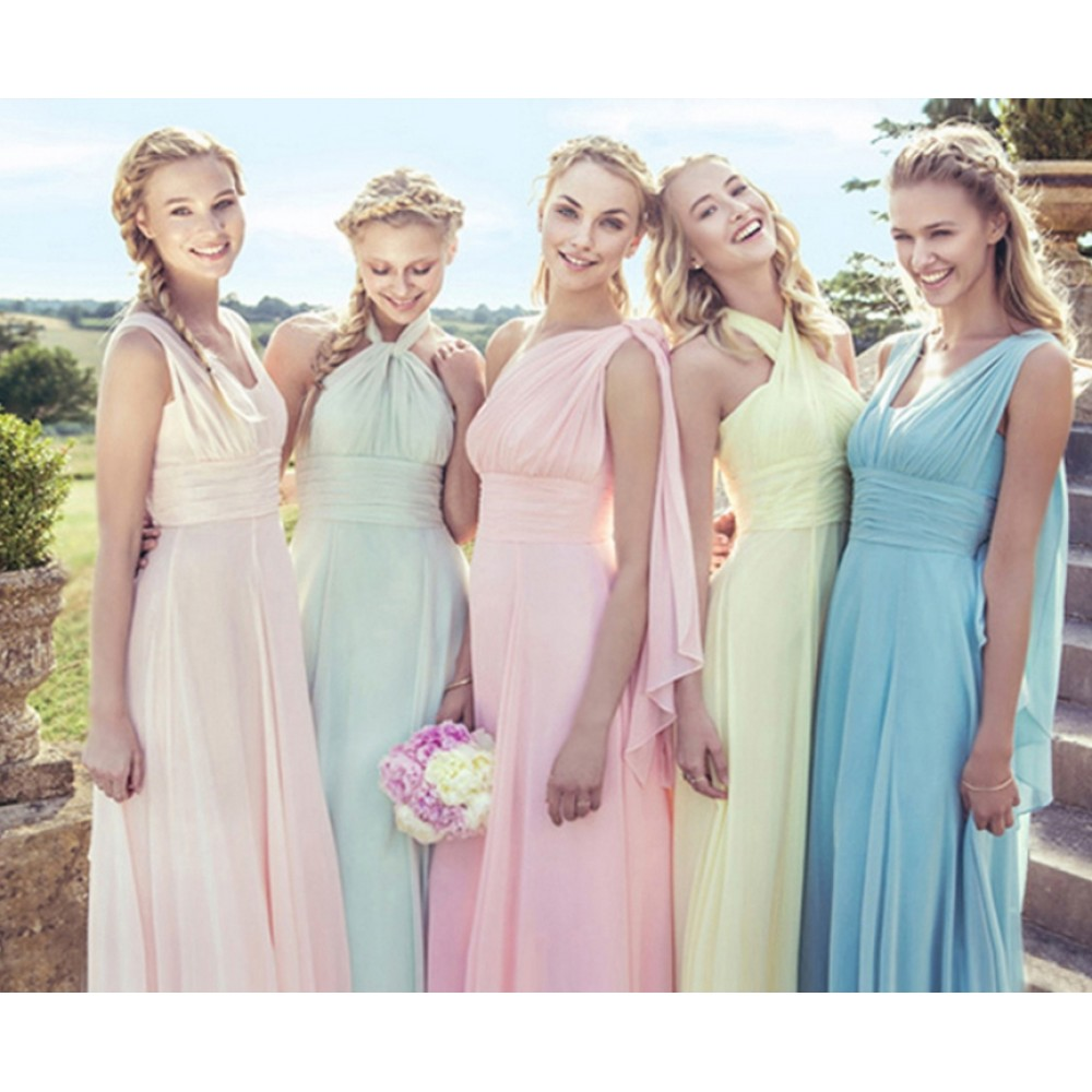 Pastel Colored Wedding Gowns: Pretty Pastel Mix And Match Chiffon Long Convertible