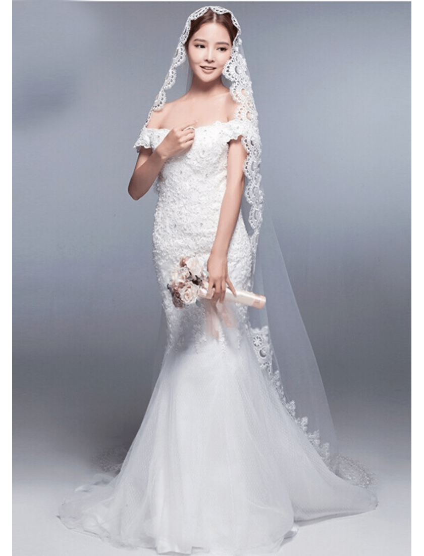 Iris Veil | Mantilla Veil with Lace Edge Cathedral Length 3 Meters Ivory Bridal Veil