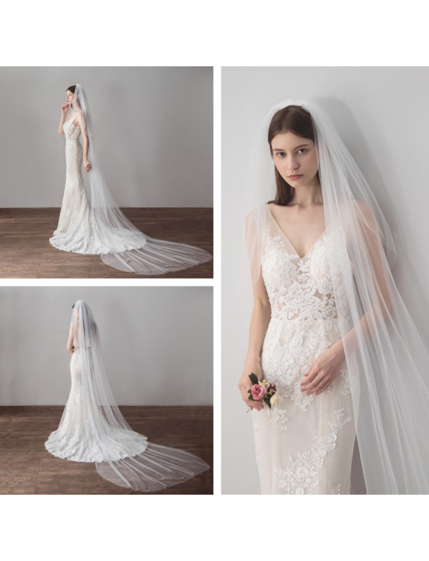 Haley Veil | Classic Romantic Cathedral Length with Blusher 3 Meters Ivory Bridal Veil