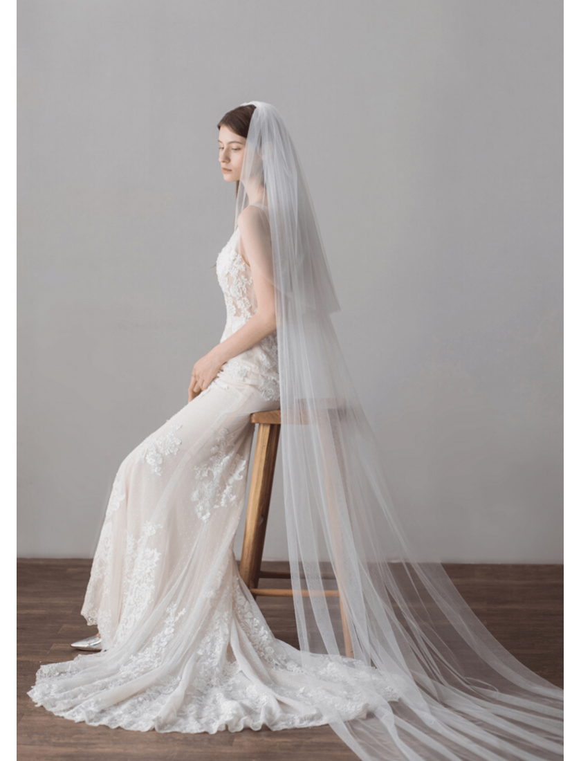 Lumiere Veil | Luxurious Romantic Classic Veil with Blusher Royal Length 5 Meters Ivory Wedding Veils