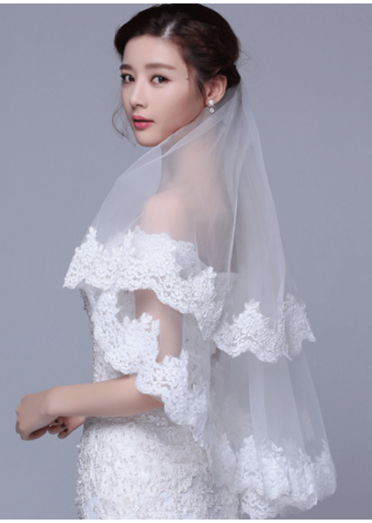 Olivia Veil | Chantilly Lace Trim Ivory Veil Fingertip Length 1.5 Meters Bridal Veil