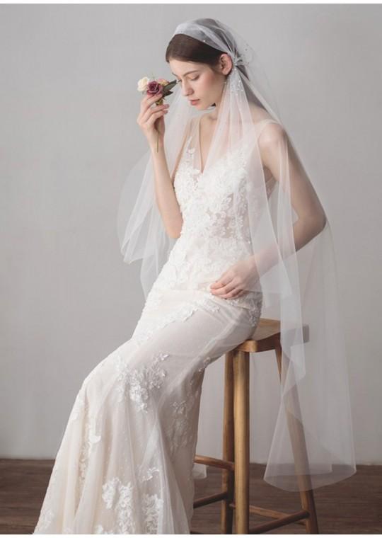 Valentin Veil | Shinning Rhinestones Fingertip Length 1.5 Meters Ivory Bridal Veil