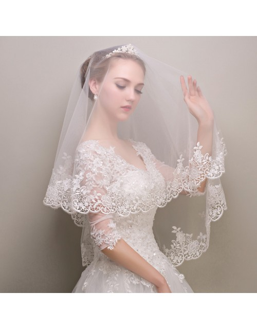 Embroidery Lace White Tulle Elbow Length 1.5 Meters Long Bridal Veil
