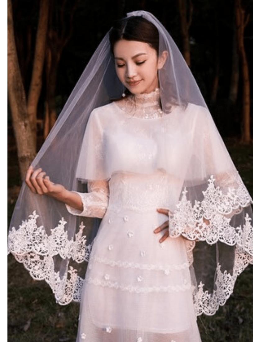 Bella Veil | French Lace Trim Waltz Length 2 Meters Ivory Wedding Veil