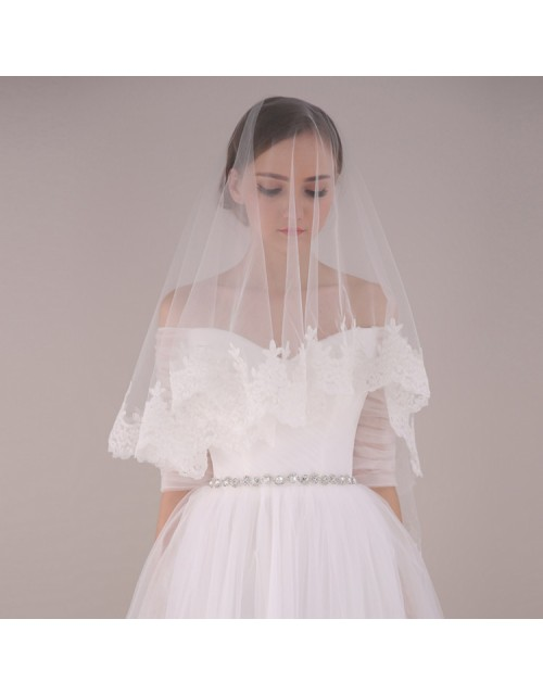 French Lace Trim Soft Tulle Elbow Length 1.5 Meters Long Bridal Veil