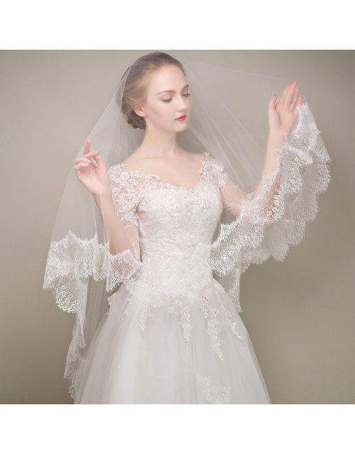 Classic Lace Trim White Tulle Ballet Length Bridal Veil
