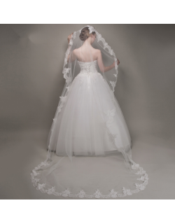 Classic Embroidery Lace Soft Tulle Cathedral Length 3 Meters Long Bridal Veil