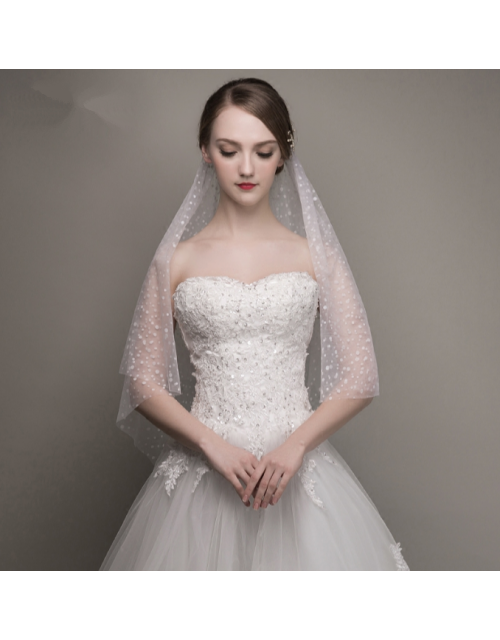 Romantic Sequins Polka Dot White Tulle Chapel Length 2.6 Meters Long Bridal Veil