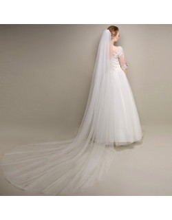 Simple Classic White Soft Tulle Cathedral Length 3 Meters Long Bridal Veil