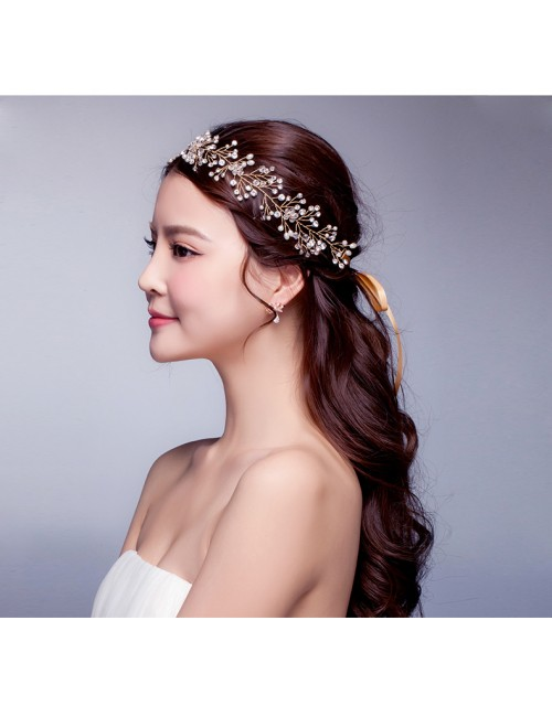Sparkling Crystal Gold Bridal Accessories Hair Vine