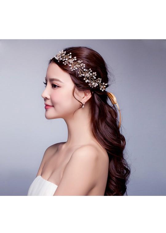 Sparkling Crystal Gold Bridal Accessories Hair Vine