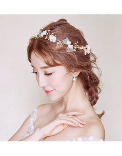 Pearl Gold Floral Blossom Bridal Hair Comb