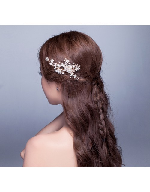Shinning Crystal Pearl Beaded Wedding Hair Comb