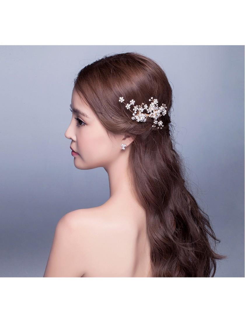 Shinning Crystal Pearl Beaded Wedding Hair Comb