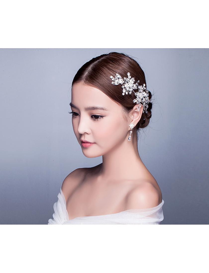 Silver Floral Rhinestones Wedding Bridal Headpiece