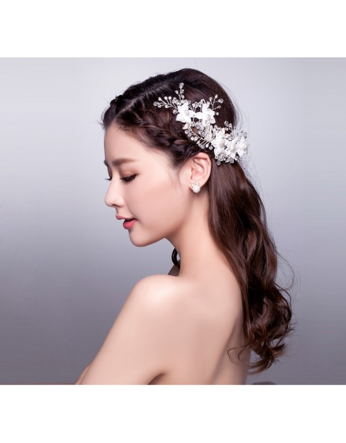 Elegant Crystal Floral Chiffon Bridal Accessories Hair Vine