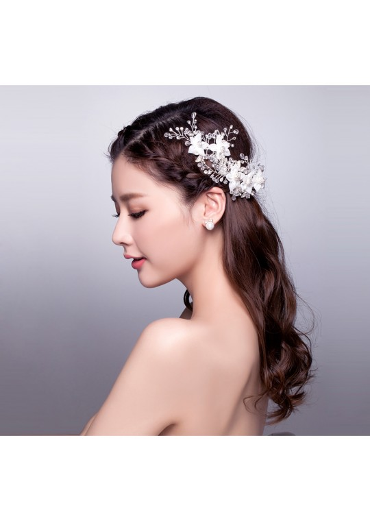 Elegant Crystal Floral Chiffon Bridal Accessories Hair Vine