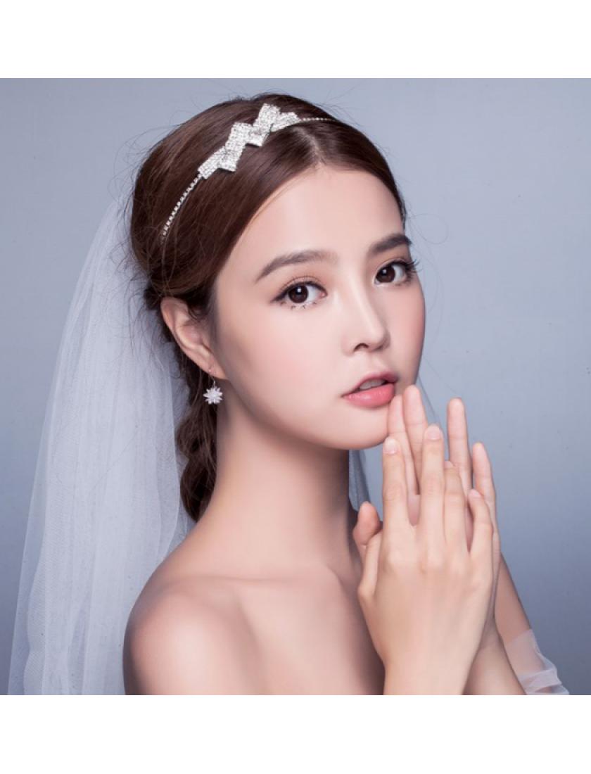 Duo Retro Bow Rhinestones Bridal Accessories Hairband