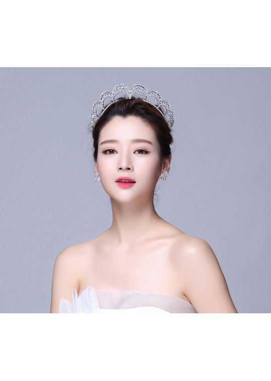 Classic Queen Crown Rhinestones Bridal Tiara