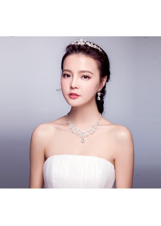 Sweet Blossom Rhinestones Bridal Tiara Earrrings Jewelry Set