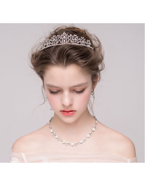 Shimmer and Shine Rhinestones Bridal Tiara Earrrings Jewelry Set