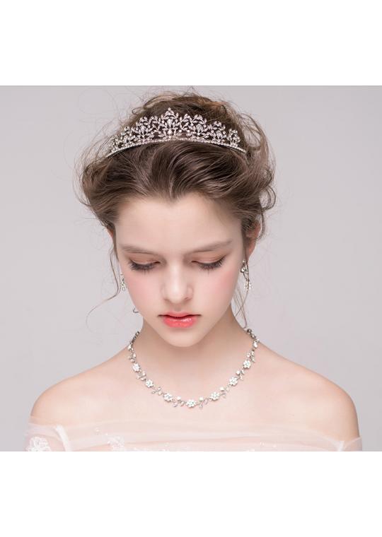 Shimmer and Shine Rhinestones Bridal Tiara Earrrings Jewelry Set