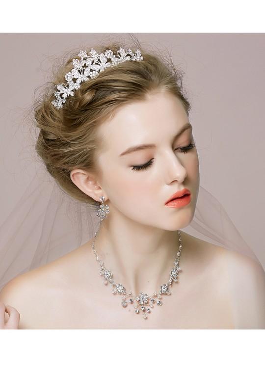 Sparkling Rhinestones Butterfly Wedding Tiara Earrrings Jewelry Set