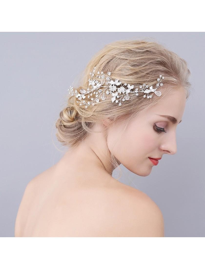 Silver Blossom Rhinestones Wedding Bridal Headpiece