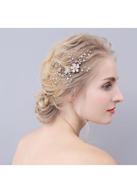 Rosegold Floral Rhinestones Wedding Bridal Headpiece