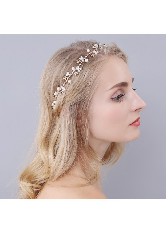 Pearl and Rhinestones Gold Leaf Wedding Bridal Hair Vine