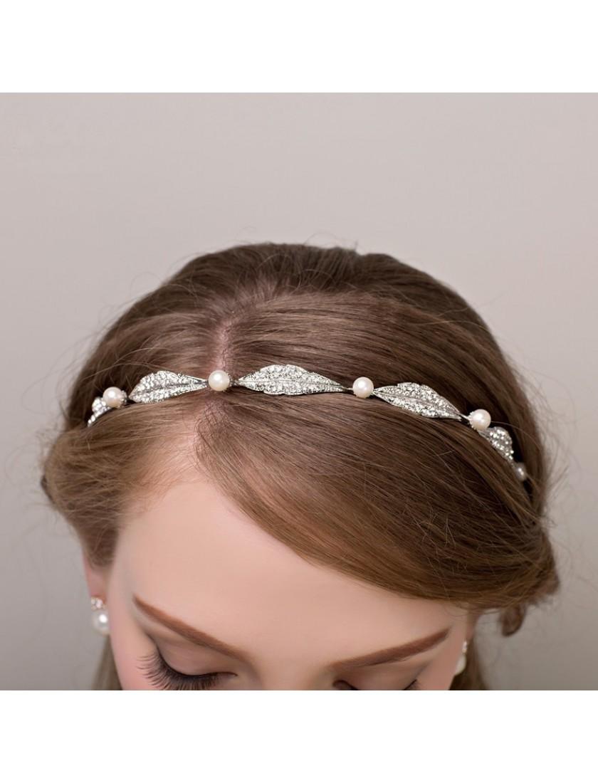 Pearl Leaf Rhinstones Wedding Hair Accessories Headband