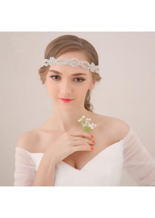 Rhinstones Chiffon Boho Wedding Bridal Accessories Headband