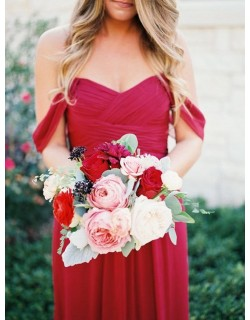 Lavern Off Shoulder Chiffon Dress (Ruby Red)