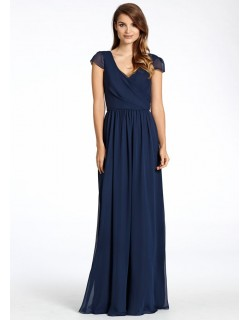 Scarlett Cap Sleeves Chiffon Dress (Navy Blue)