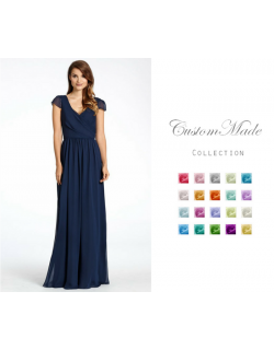 Scarlett Cap Sleeves Chiffon Dress (Custom Color)