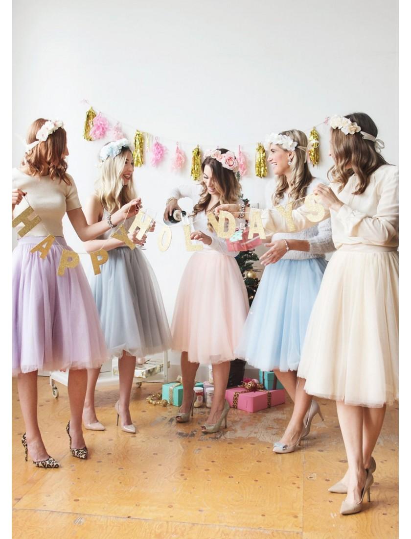 Sasha A-Line Tulle Short Skirt (Custom Color)
